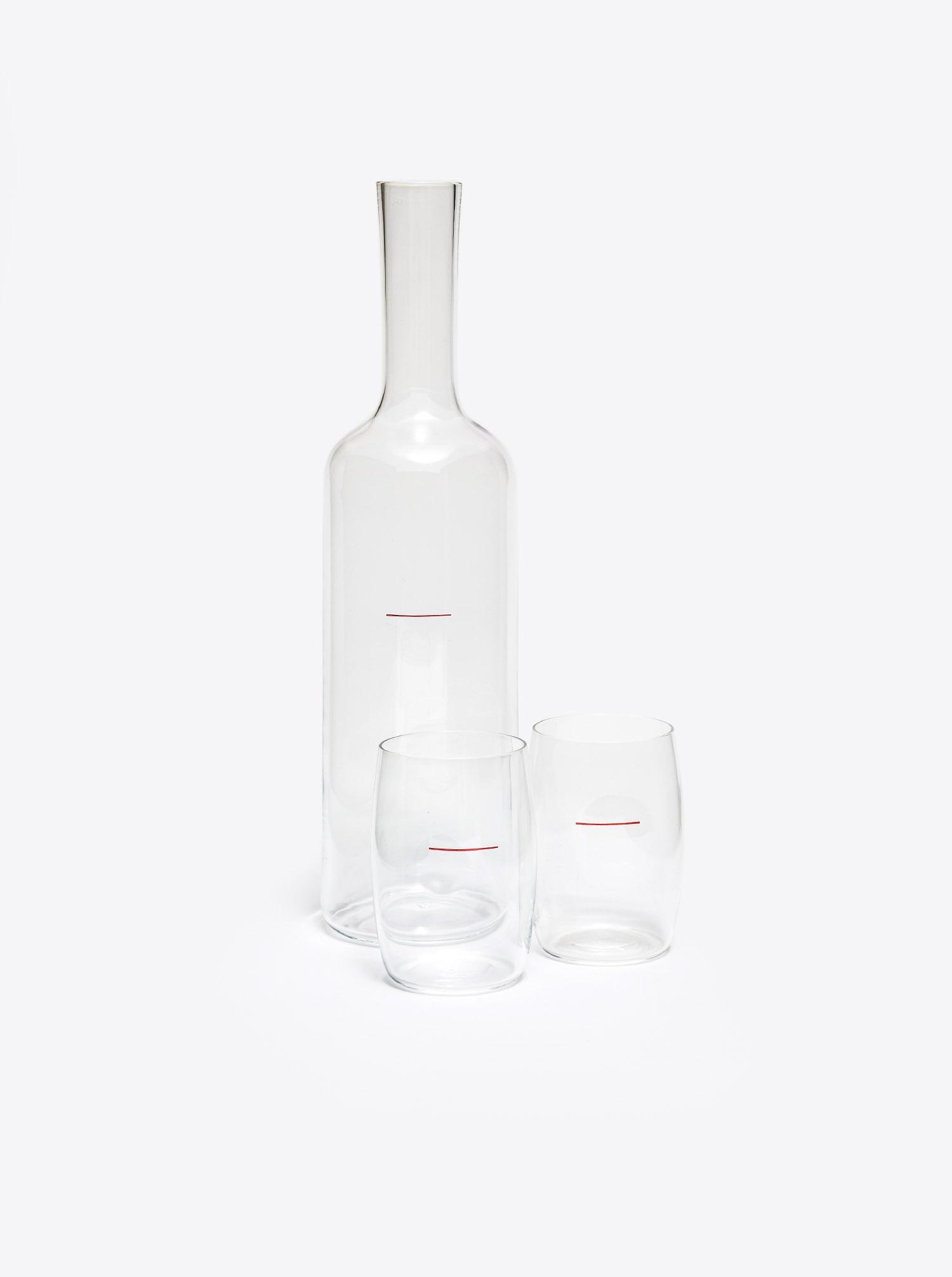 Glas Set Wiener Achtel mit Flasche