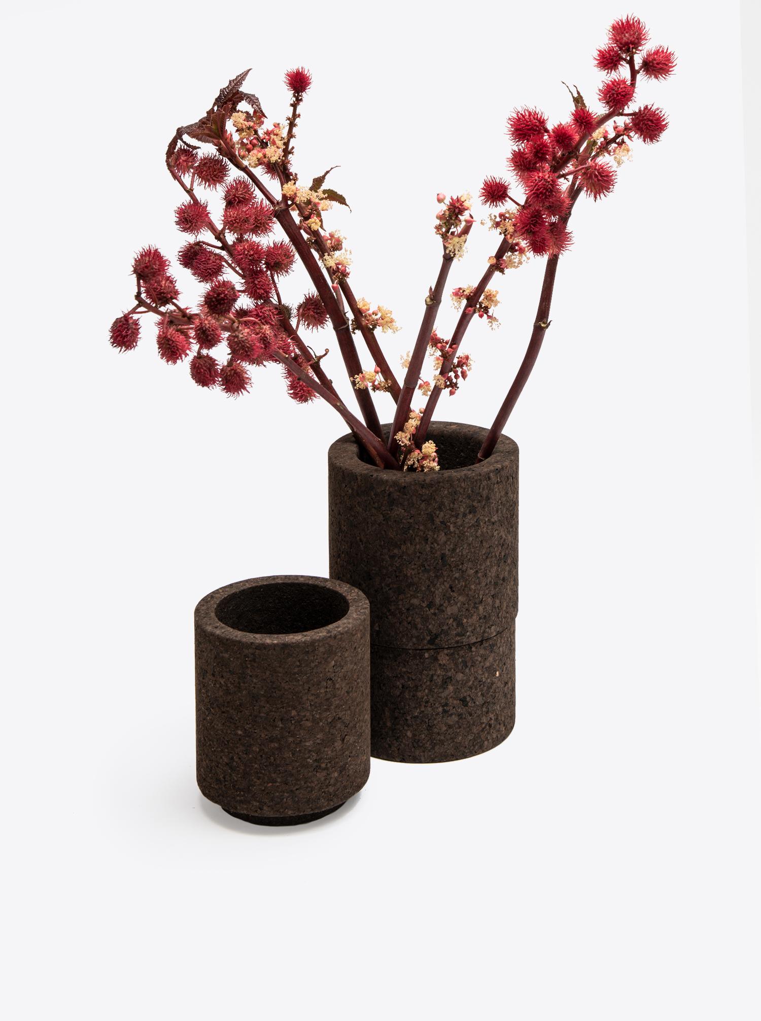 Zylinder Vase mittel MC04 Kork schwarz geflammt