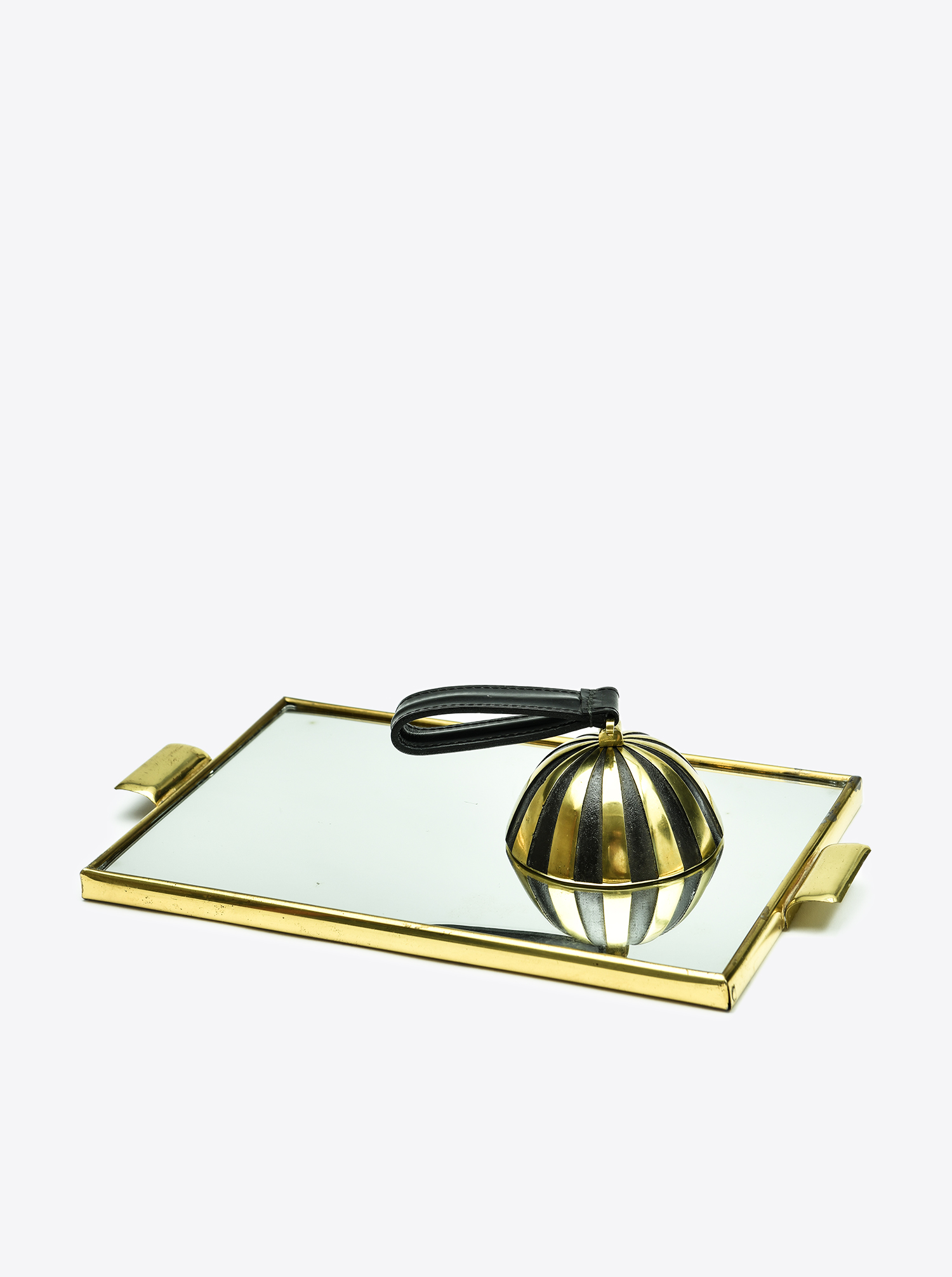 "Table Bell ""Zebra"" Brass patinated and polished"