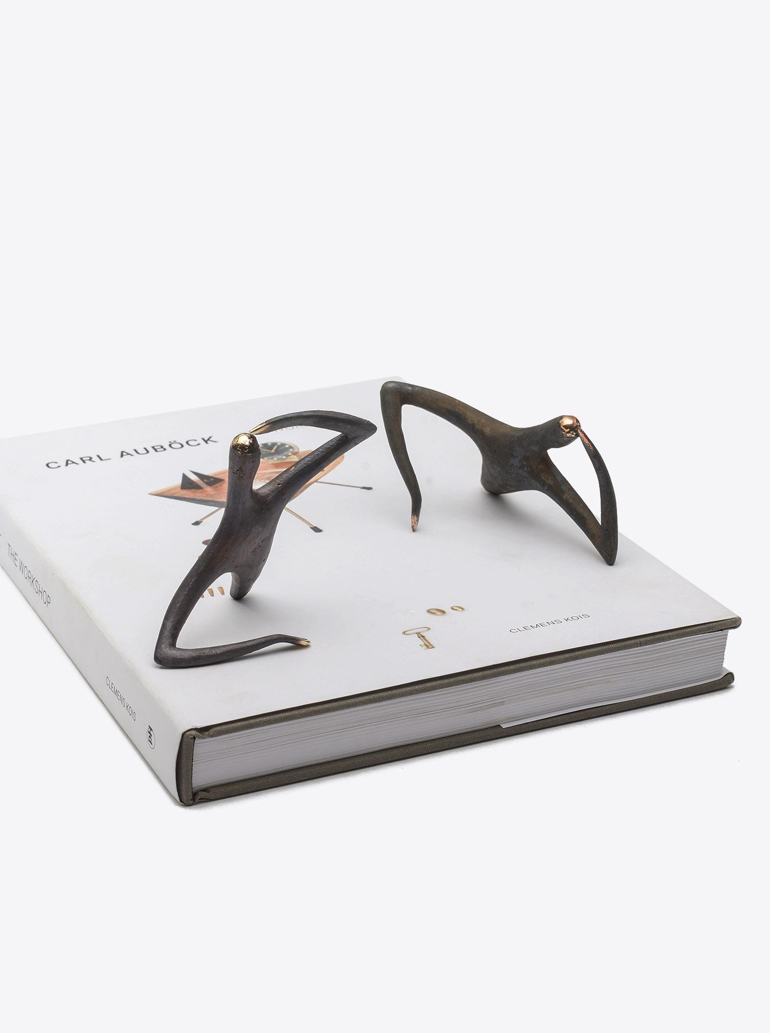 """Skulptur """"Optimist Pessimist"""" Messing patiniert"""