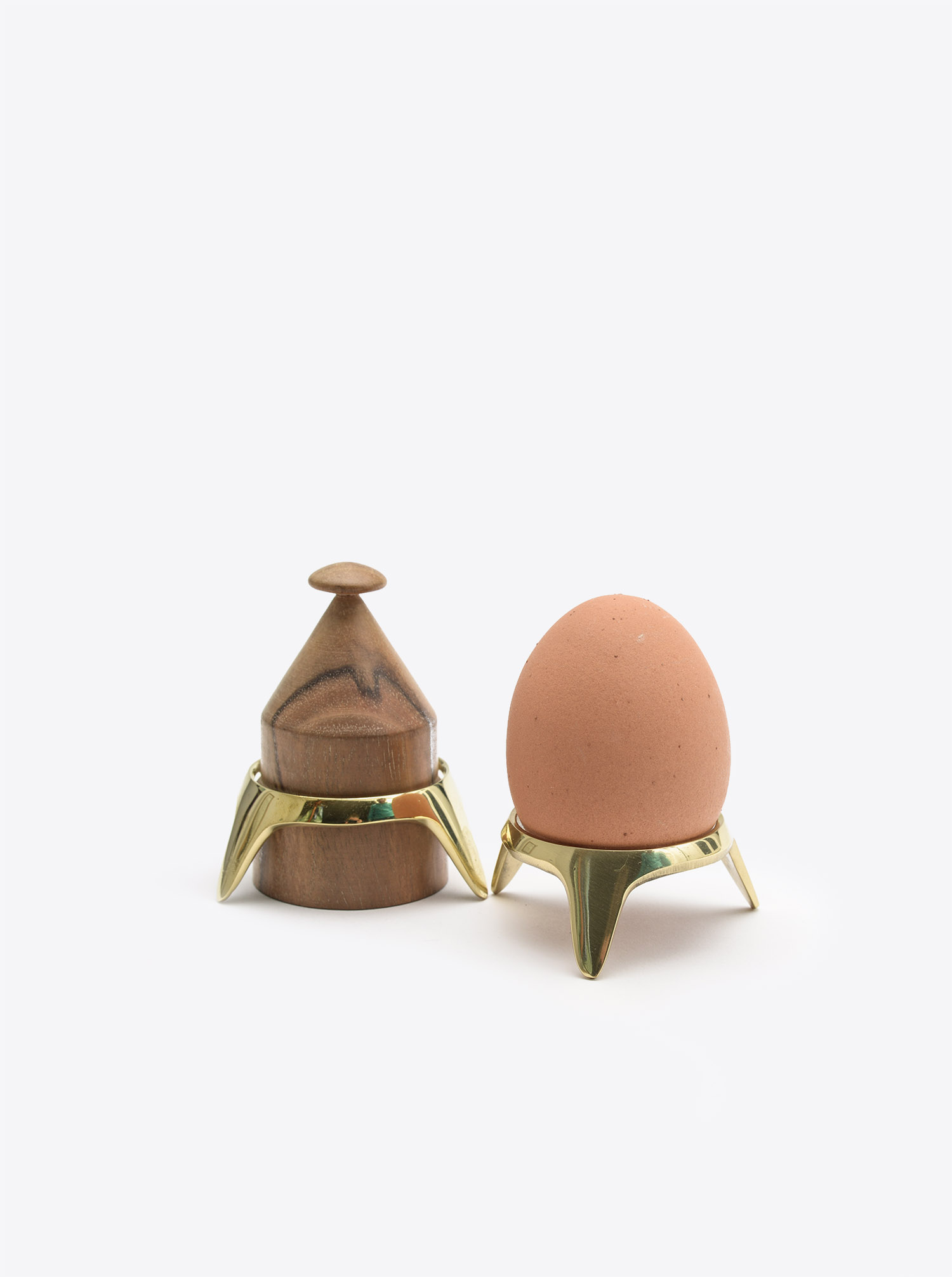 Egg Cup Set with stand Walnut Vintage