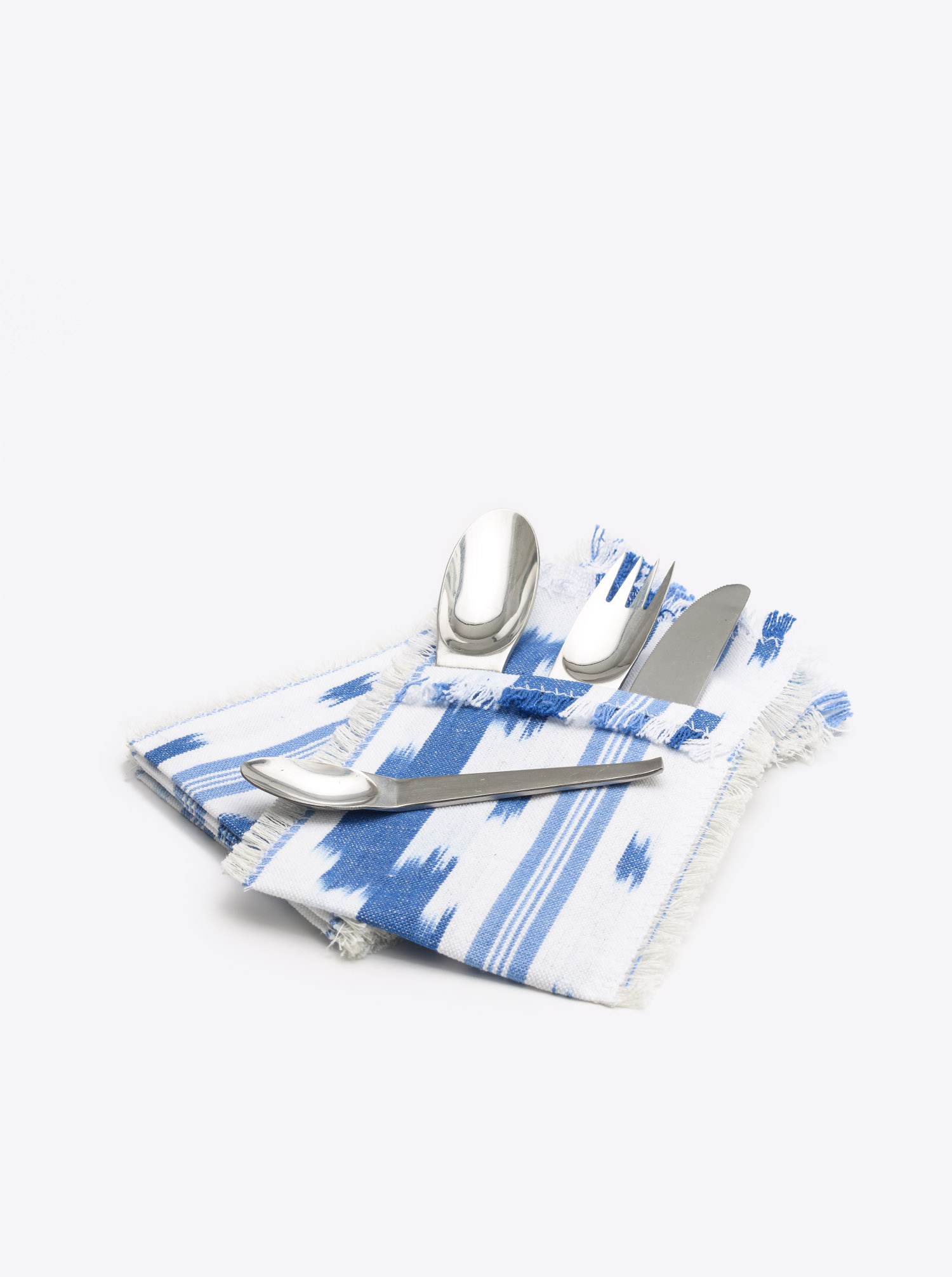 Cutlery Holder Set Cubierto 6 pieces Ikat midblue