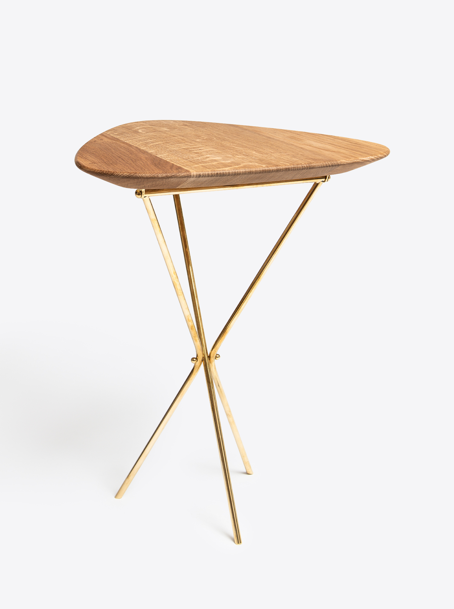 Tribod Table Oak and Brass