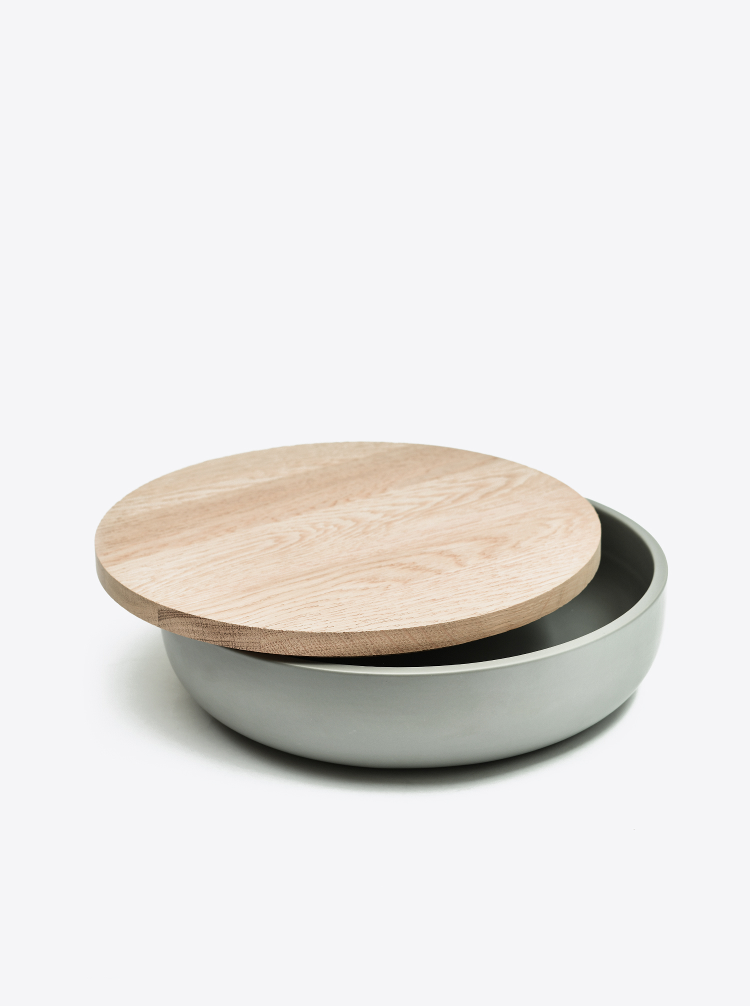 Bowl Ceramic grey D30 with lid Oak