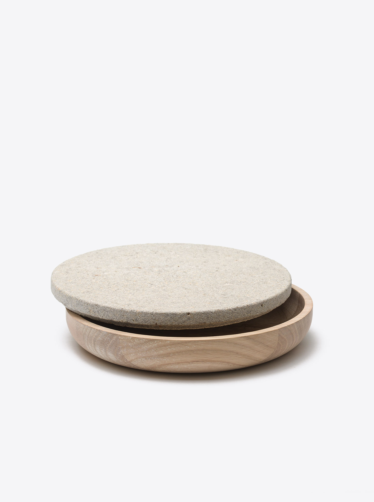 Bowl Oak D30 with lid Limestone