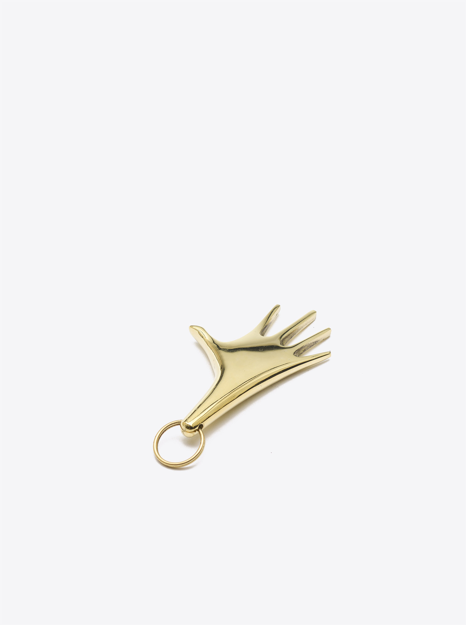 "Key Chain ""Hand"" large Brass polished"