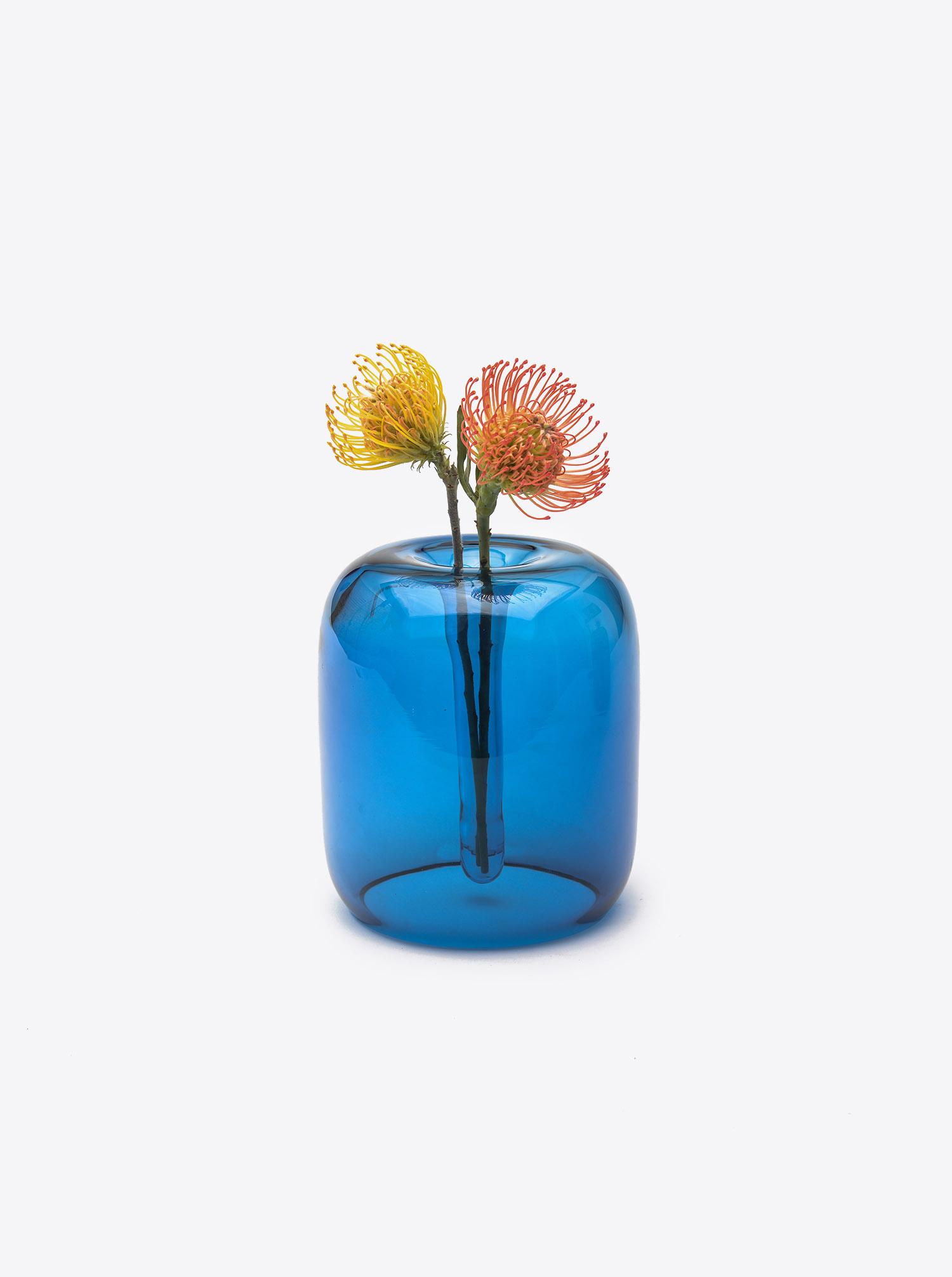 Vase Soft Vase M Glas blau