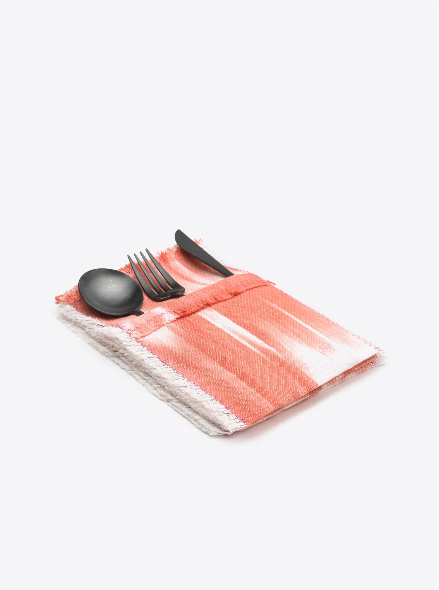 Bestecktaschen Set Cubierto 6teilig Ikat pink koralle