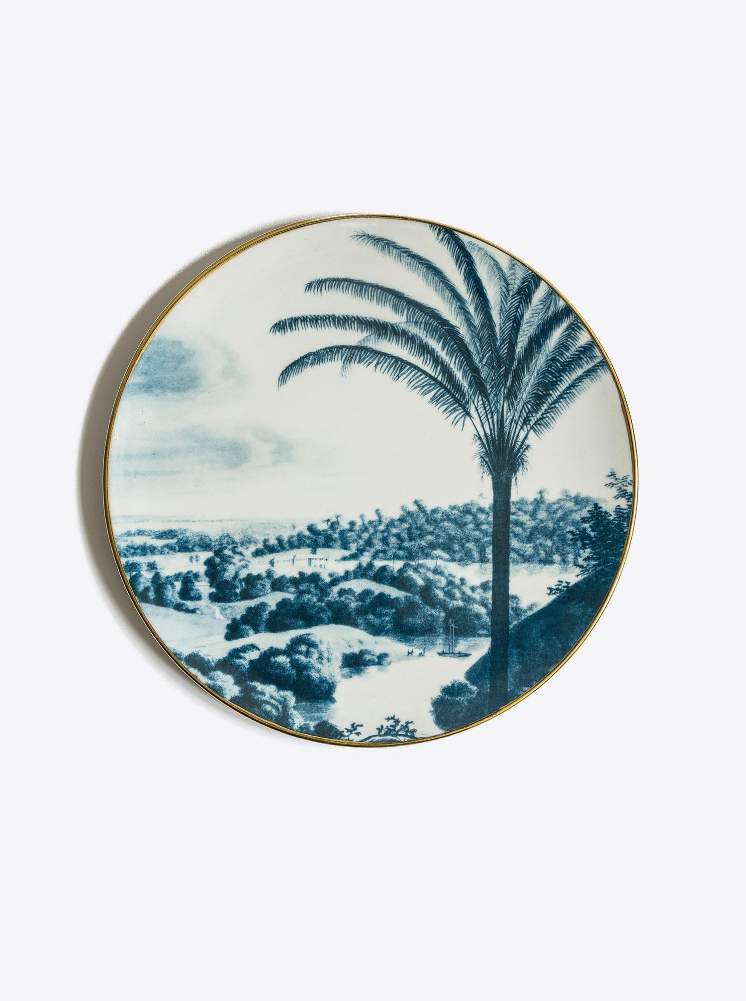 Plate Set Las Palmas 6 pieces blue & gold D28