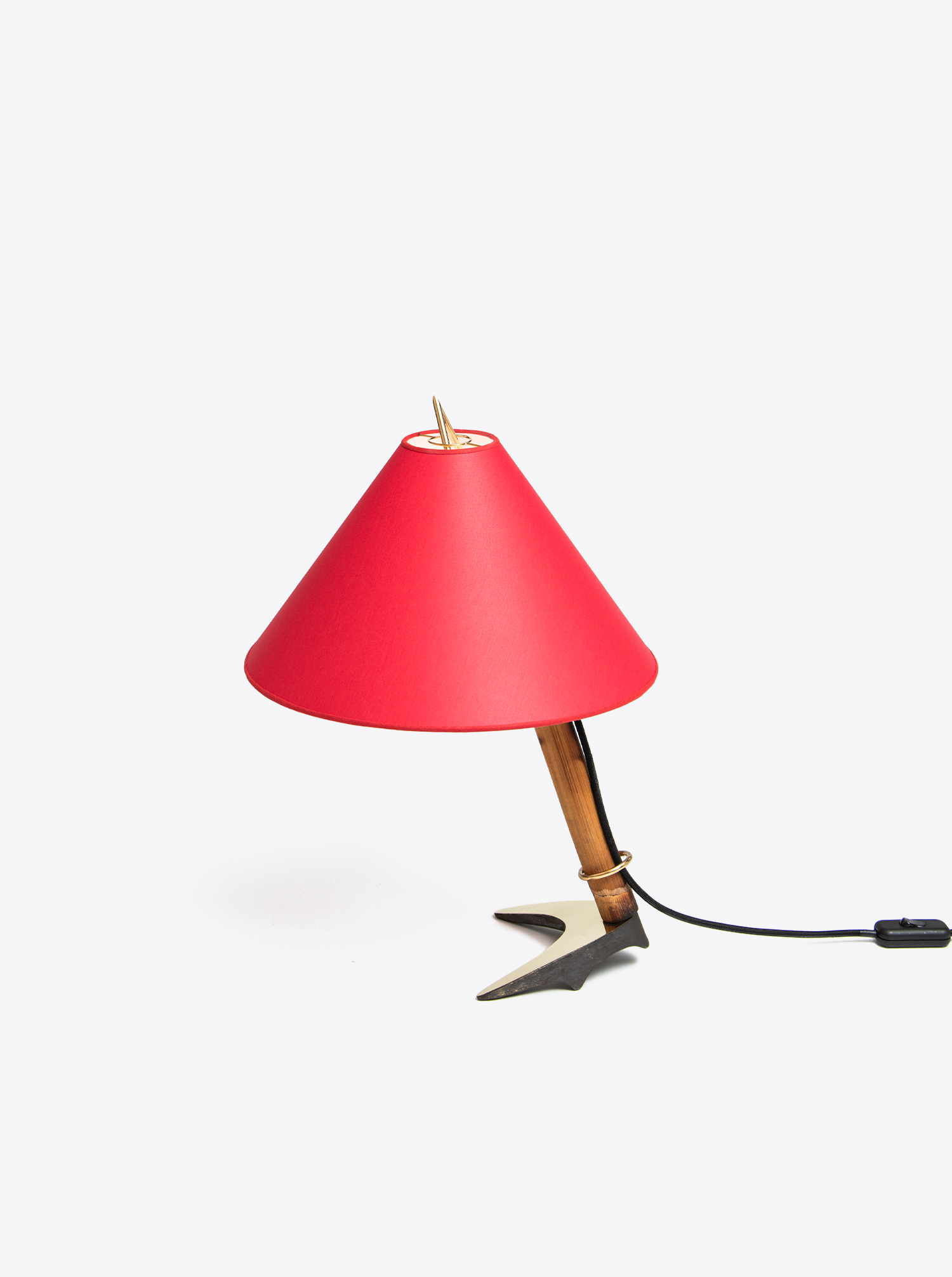 """Tiltable table lamp """"horseshoe"""" patinated brass with shade chintz in red"""