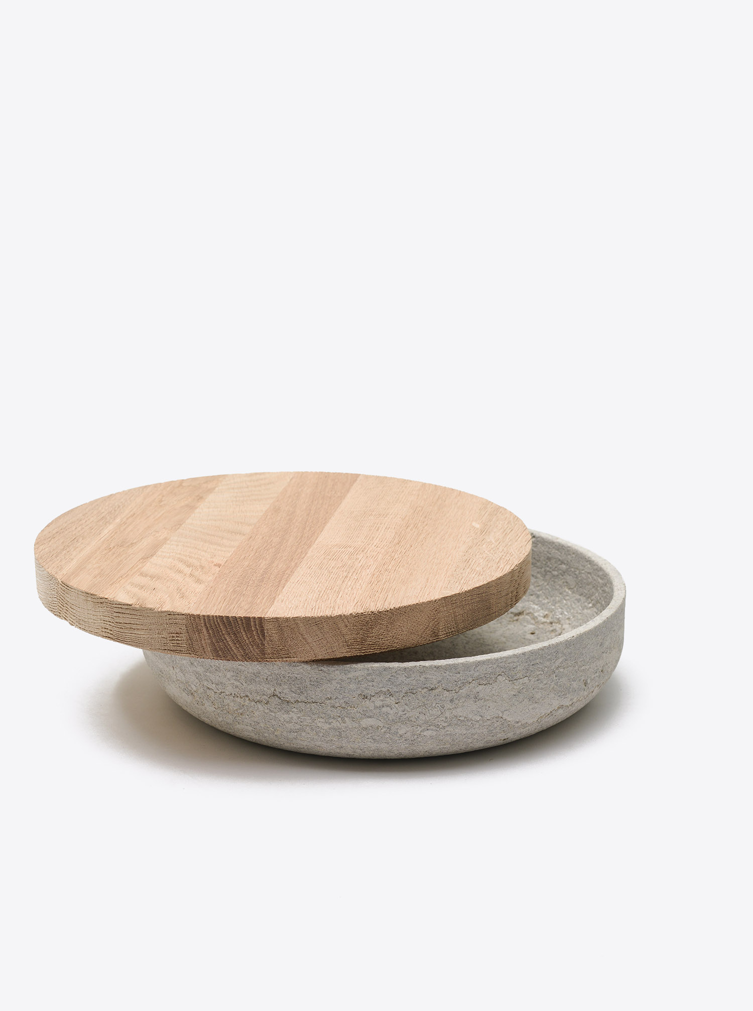 Bowl Limestone D30 with lid Oak