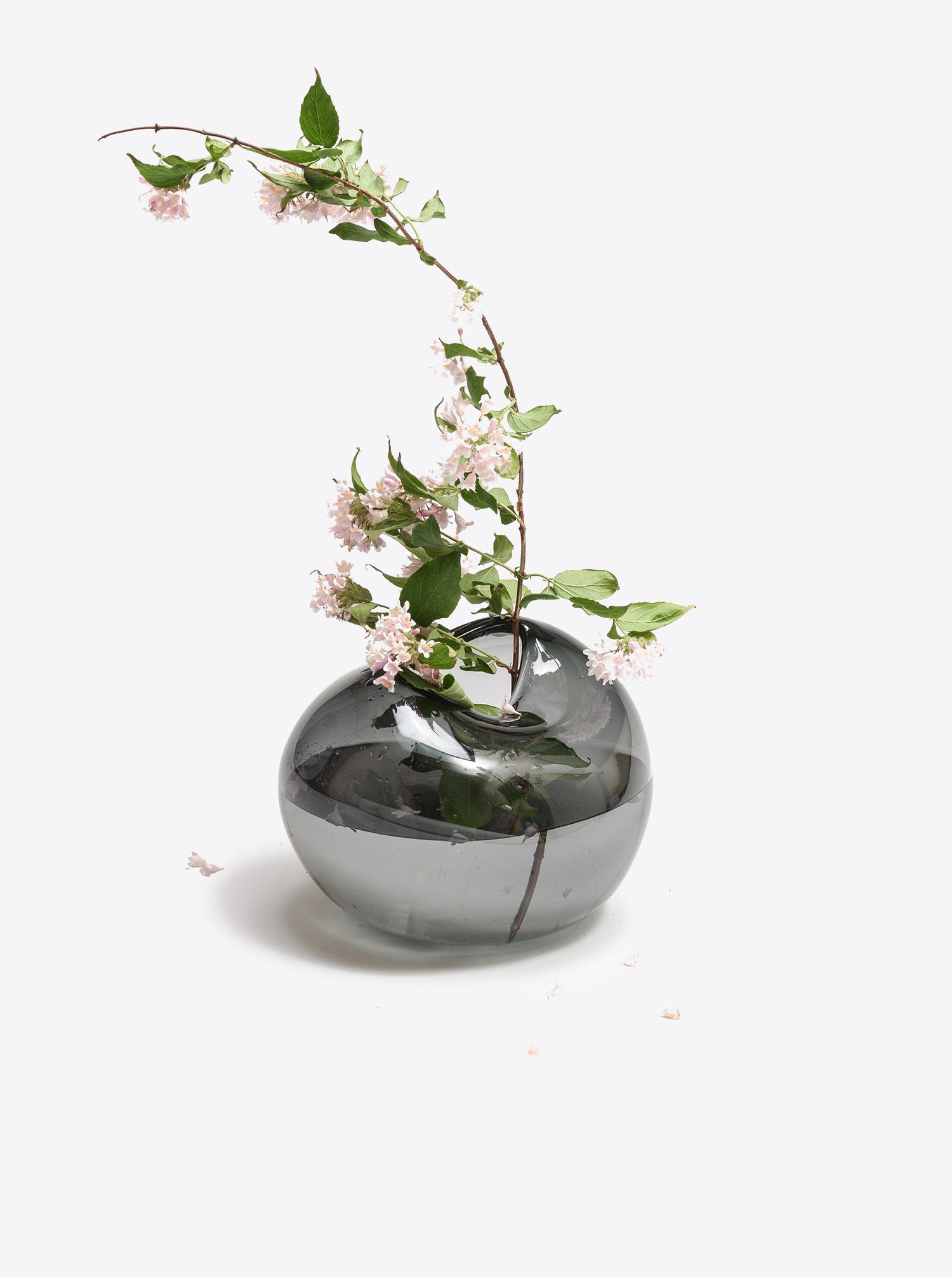 Vase Bubble Vase L Glas grau