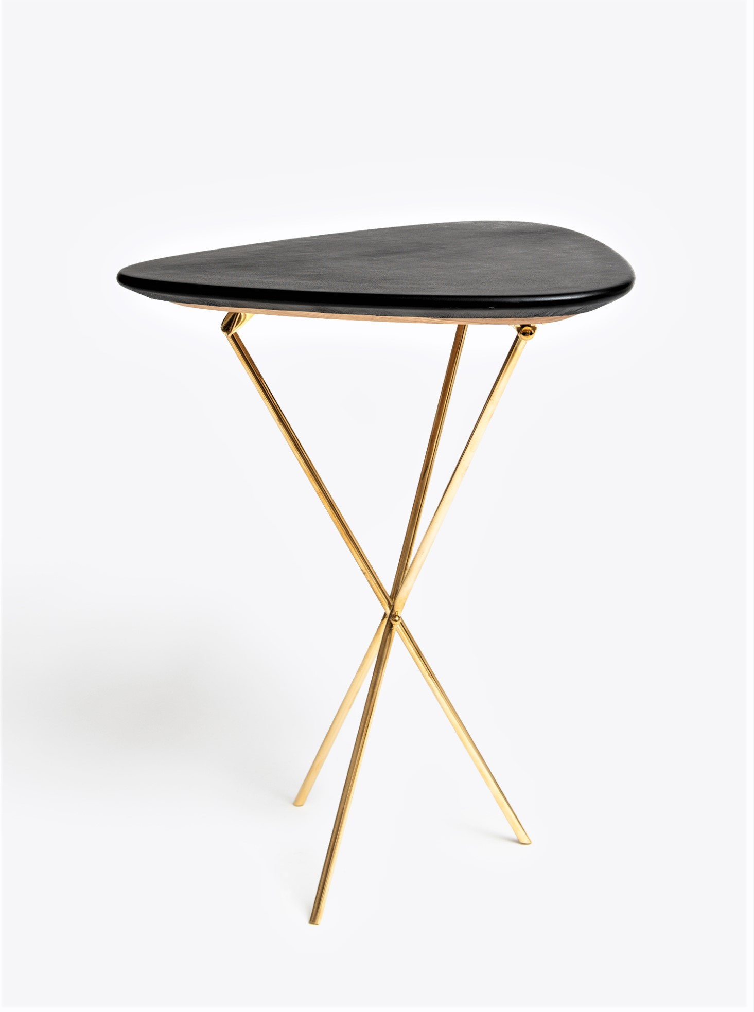 Tribod Table Oak, Leather and Brass