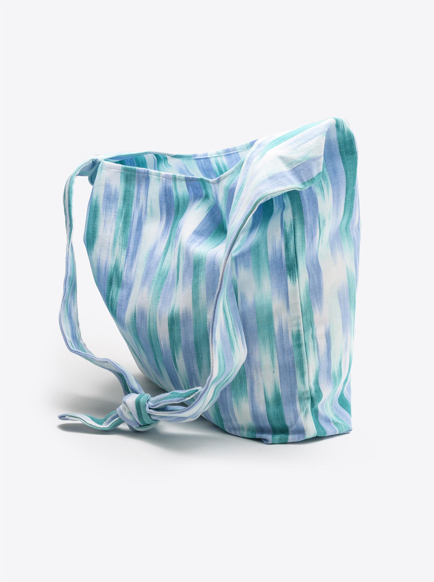 Bag Furoshiki Ikat light blue and green
