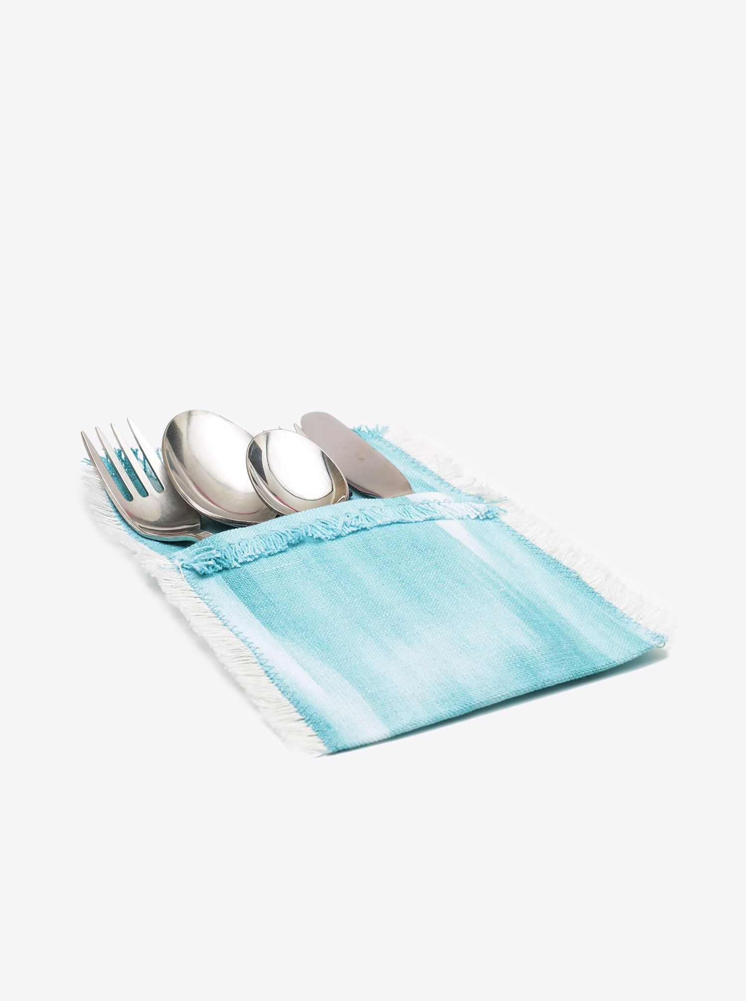 Cutlery Holder Set Cubierto 6 pieces Ikat turquois