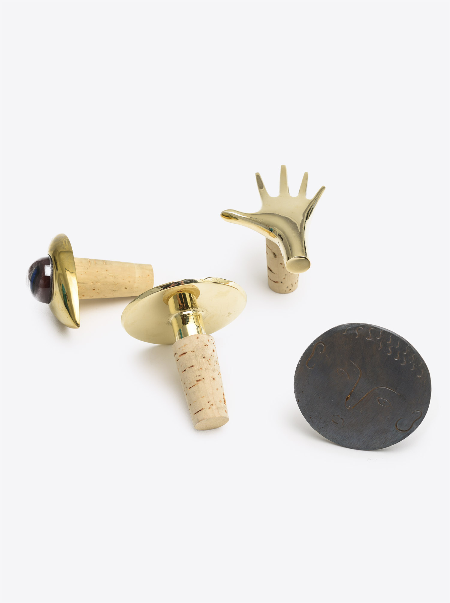 "Bottle Stopper ""Face"" Brass patinated"