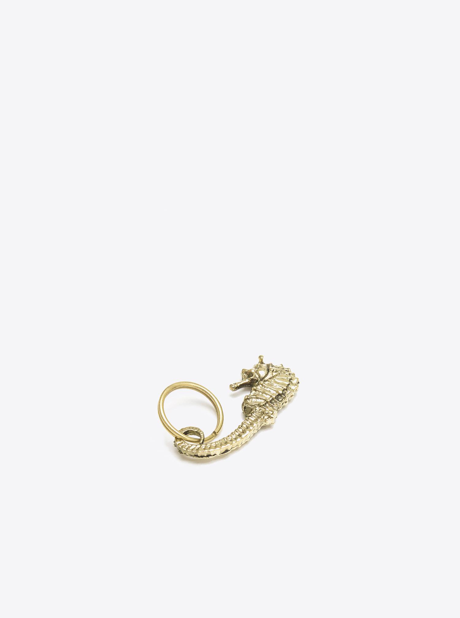 Schlüsselanhänger Seepferd Messing poliert